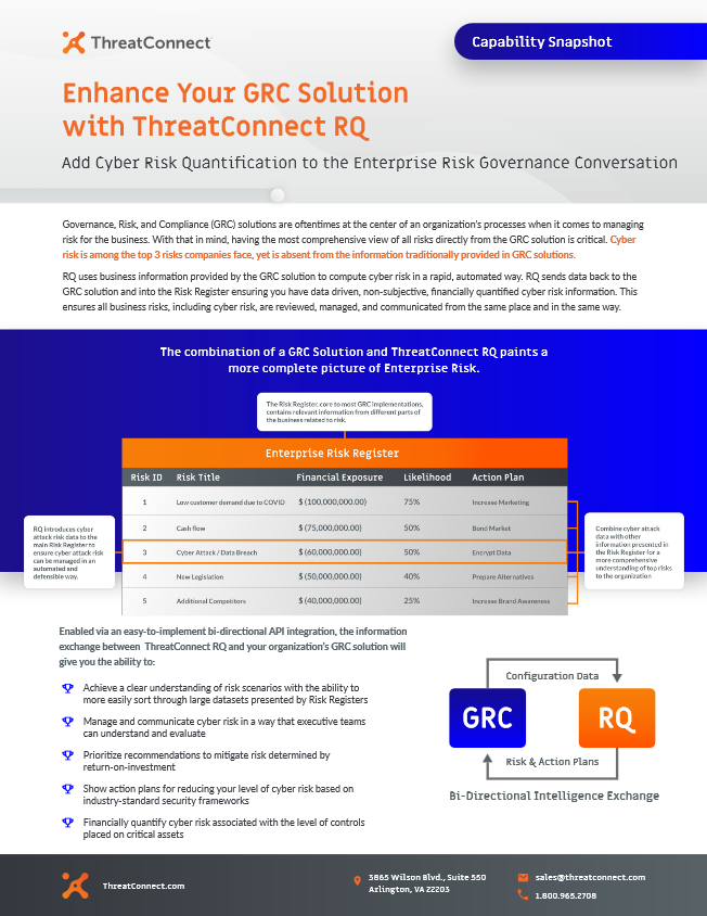 GRC Solutions ThreatConnect RQ